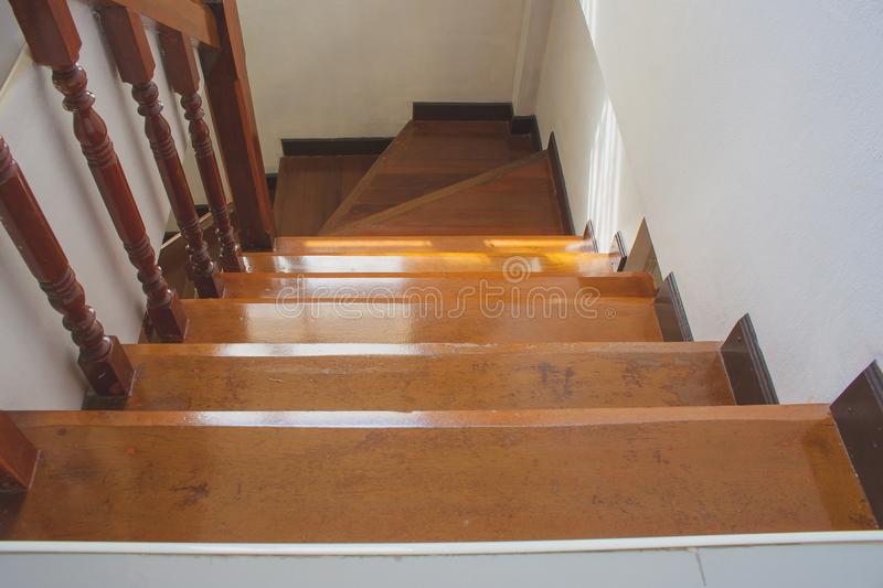 Architecture of wooden staircase or stairway in townhouse. royalty free stock photography