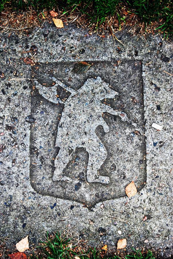 Architecture of Yaroslavl town, Russia. A bear, state symbol of the city. This is a brick on the ground located in the city center. Yaroslavl is a popular royalty free stock photo