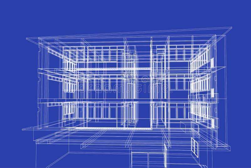 Architectuur abstracte, 3d illustratie, de bouw structuur, vector illustratie