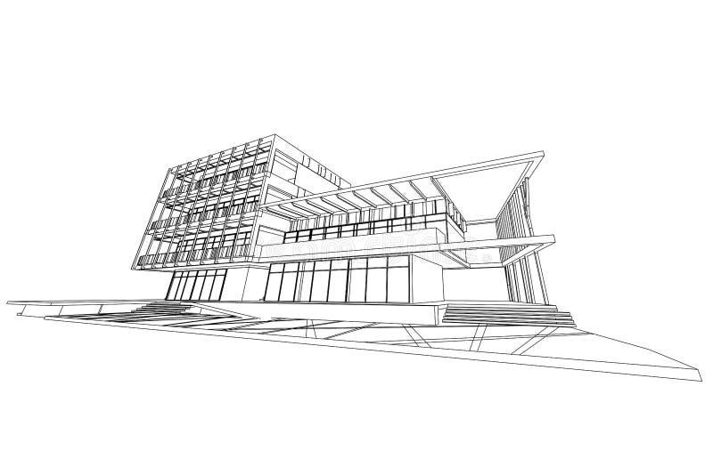 Architectuur abstracte, 3d illustratie, de bouw structuur commercieel de bouwontwerp stock illustratie
