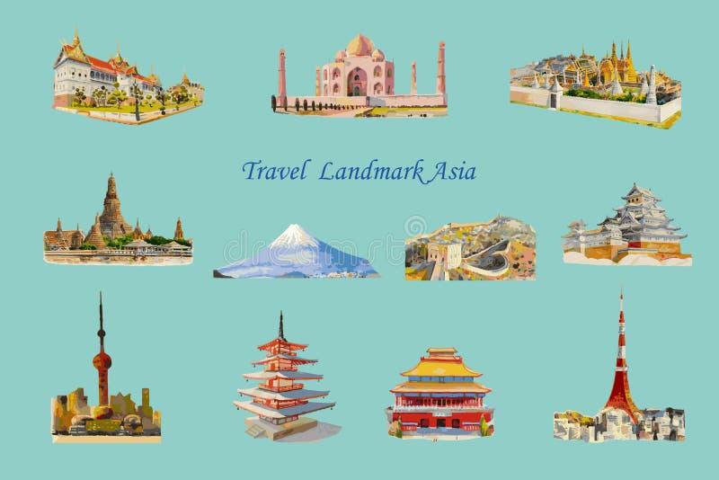 Architectuur Azië van het reis de populaire oriëntatiepunt stock illustratie