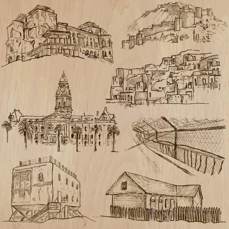 Architectuur, Beroemde plaatsen - Hand getrokken vectoren royalty-vrije illustratie