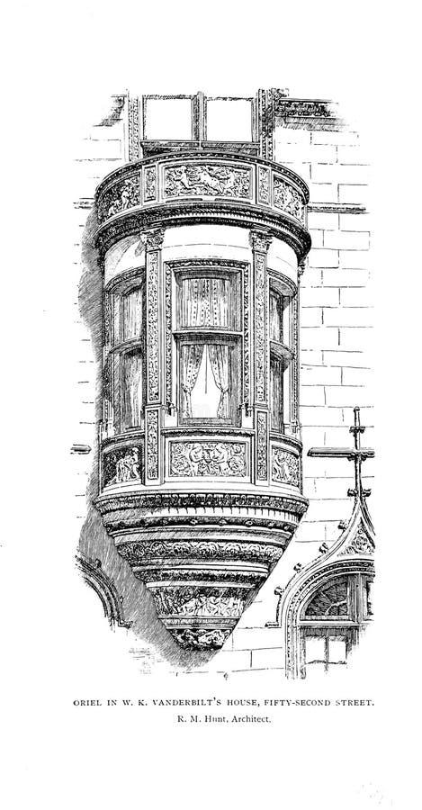 Architectuur de V.S. Gravureillustratie stock afbeelding