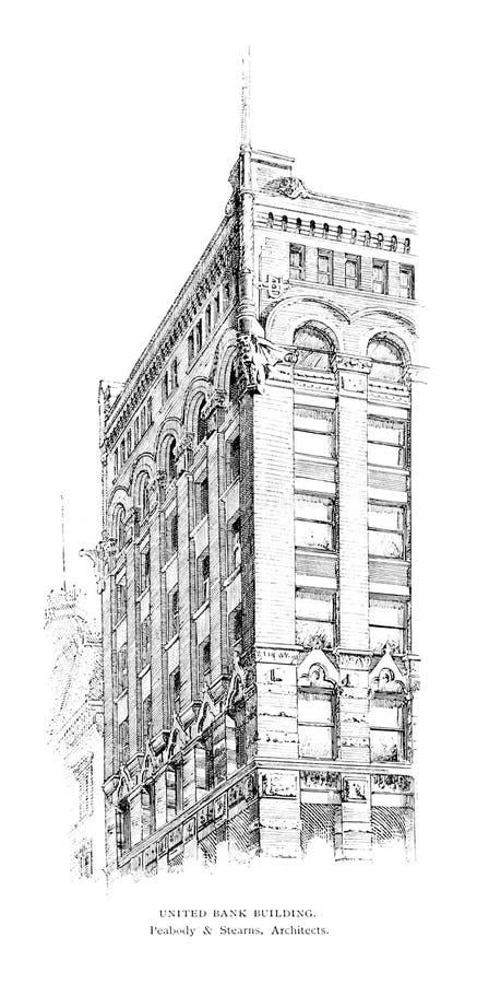 Architectuur de V.S. Gravureillustratie stock afbeeldingen