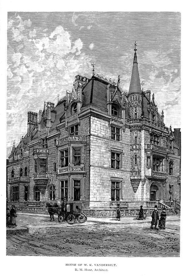 Architectuur de V.S. Gravureillustratie royalty-vrije stock foto