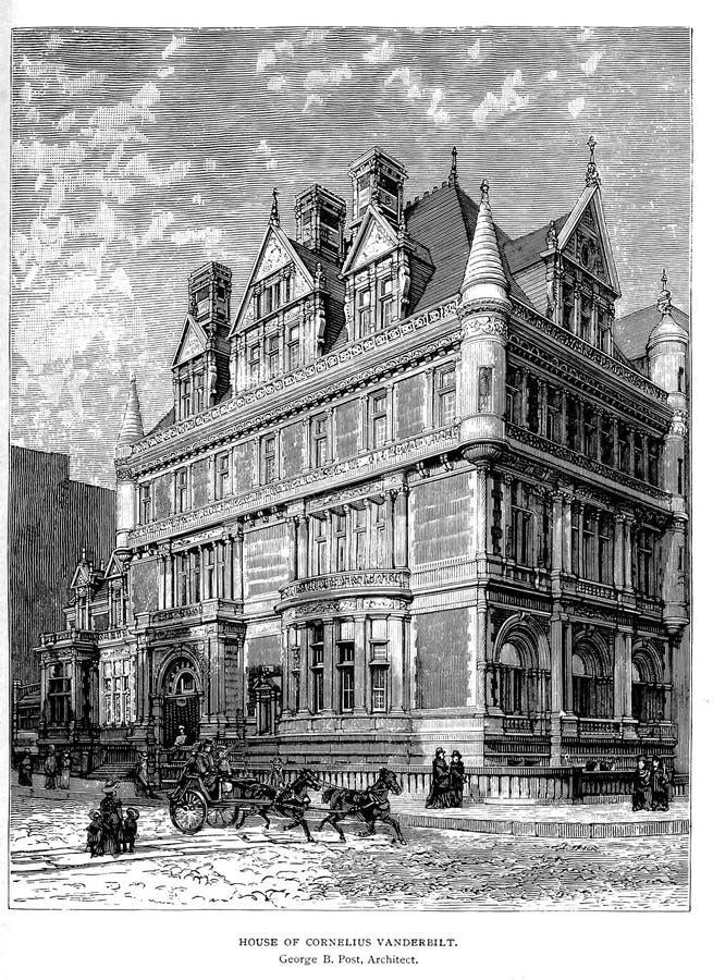 Architectuur de V.S. Gravureillustratie royalty-vrije stock afbeelding