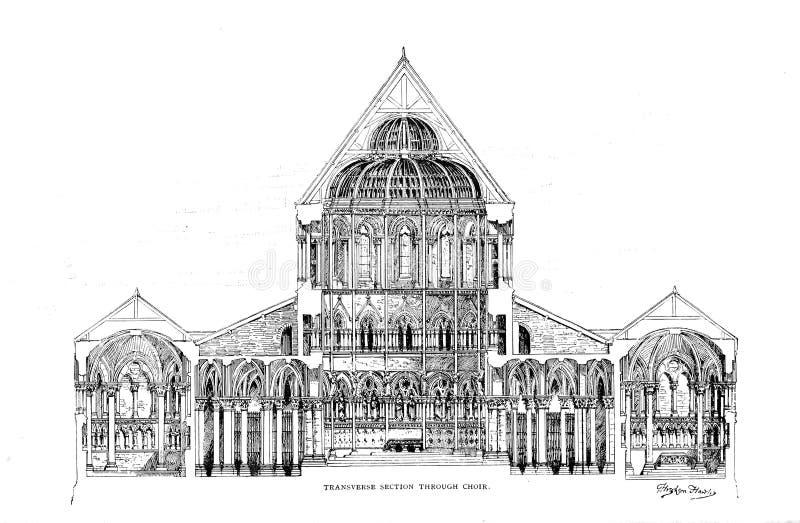 Architectuur de V.S. Gravureillustratie stock foto