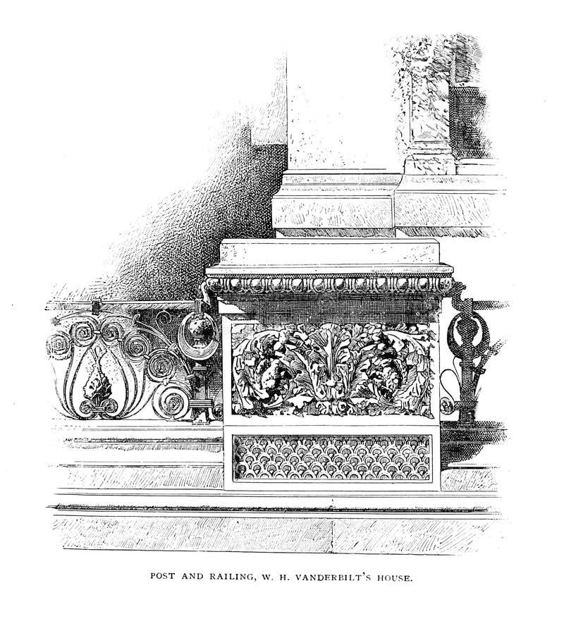 Architectuur de V.S. Gravureillustratie stock fotografie