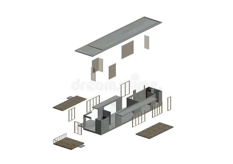 Architectuur die in axonometric is geëxplodeerdi vector illustratie