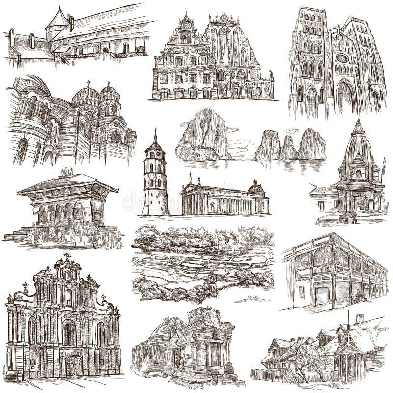 Architectuur - een getrokken hand, met maat hoogtepunt -, illustraties op wit stock illustratie