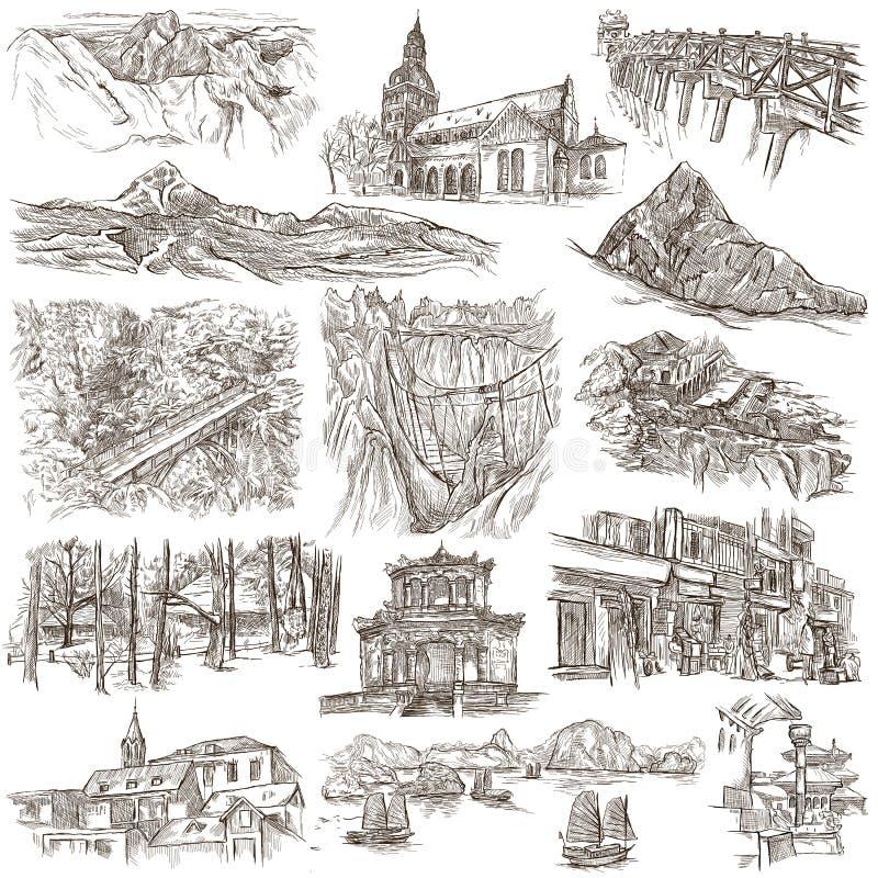 Architectuur - een getrokken hand, met maat hoogtepunt -, illustraties op wit vector illustratie