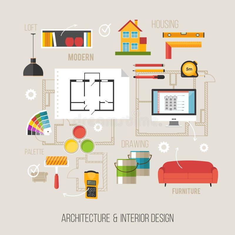 Architectuur en binnenlands ontwerpconcept met architectuurvecto vector illustratie