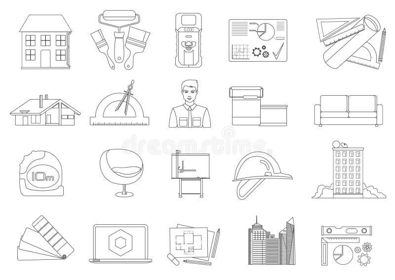 Architectuur en Bouw geplaatste lijnpictogrammen stock illustratie