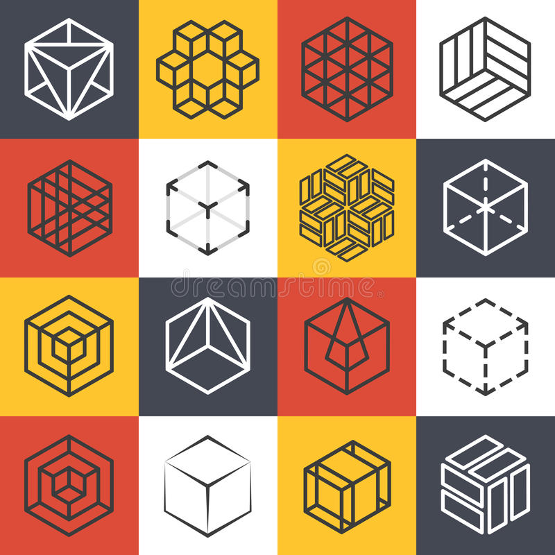 Architectuur en de binnenlandse studio's of malplaatjes van het de lijnembleem van het bouwbedrijf met 3D isometrische kubussen vector illustratie