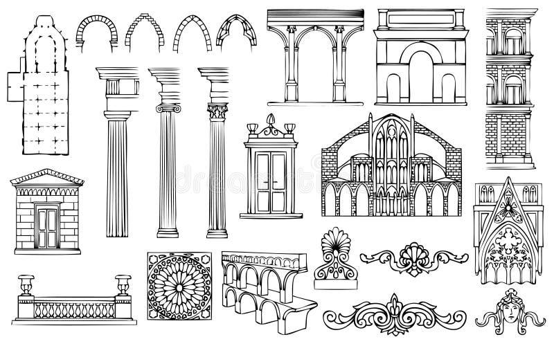 Architectuur en ornamenten vectorreeks royalty-vrije illustratie