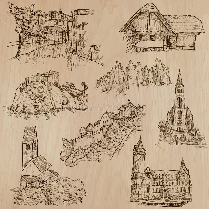 Architectuur en plaatsen rond de wereld - tekeningen uit de vrije hand vector illustratie