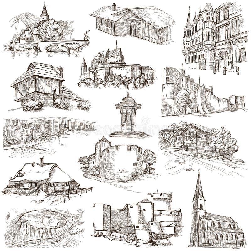 Architectuur, Faous-plaatsen - Inzameling van schetsen uit de vrije hand stock illustratie