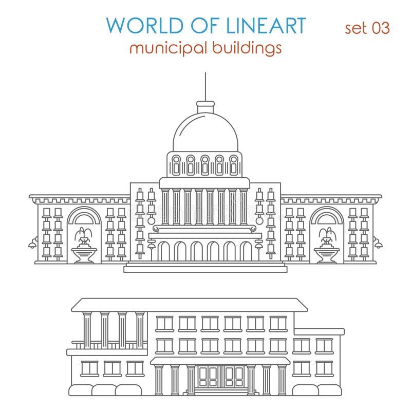 Architectuur gemeentelijke overheid die grafische lineart bouwen stock illustratie