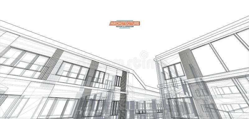 Architectuur, groot ontwerp voor om het even welke doeleinden 3d de stad van de illustratiearchitectuur stedelijk modern de bouwp stock illustratie