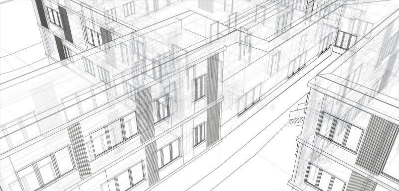 Architectuur, groot ontwerp voor om het even welke doeleinden 3d de stad van de illustratiearchitectuur stedelijk modern de bouwp vector illustratie