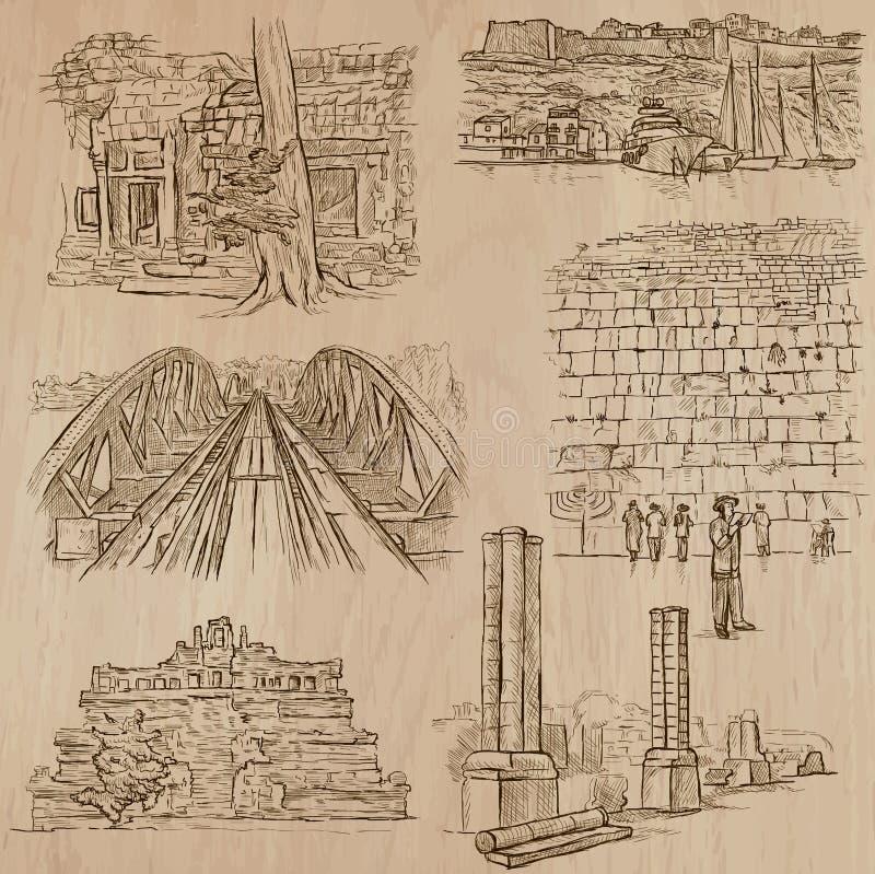 Architectuur - hand getrokken vectorpak vector illustratie