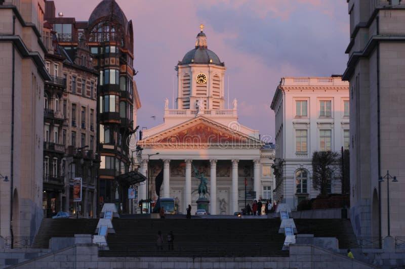 Architectuur in het historische deel van Brussel, België stock foto's