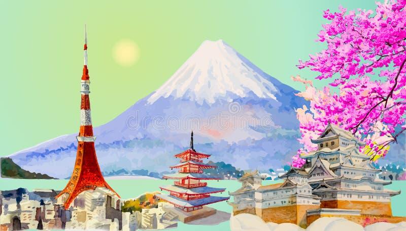 Architectuur Japan van het reis de populaire oriëntatiepunt royalty-vrije illustratie