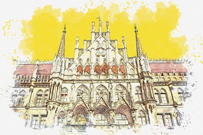 Architectuur in München in Duitsland stock illustratie