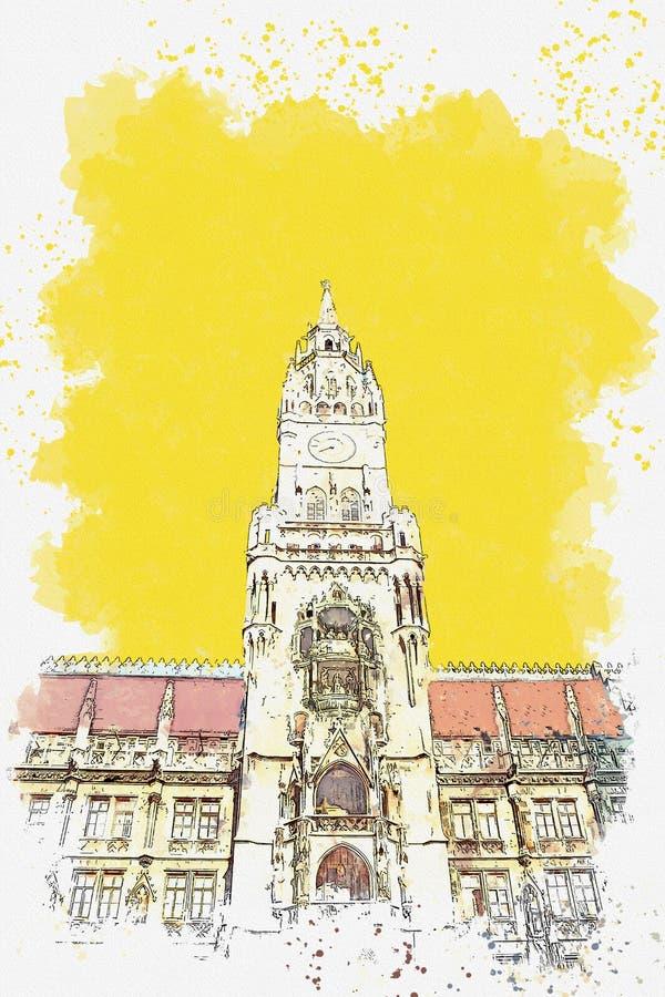 Architectuur in München in Duitsland royalty-vrije illustratie