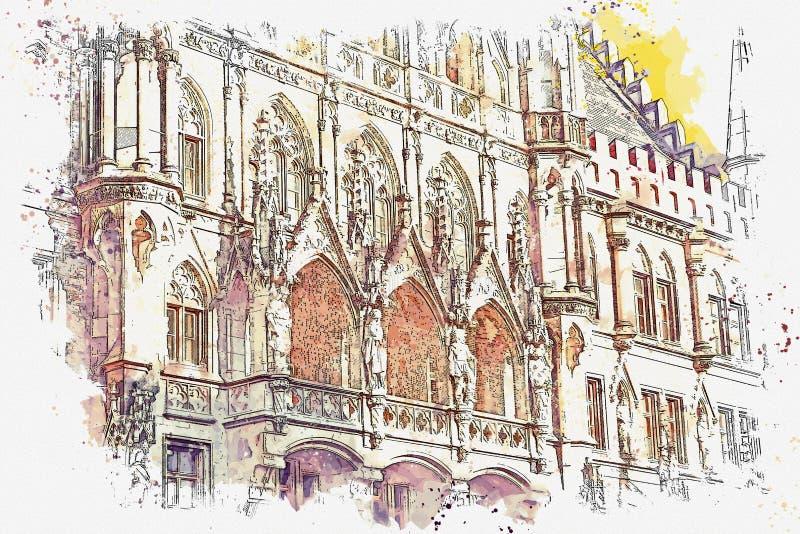 Architectuur in München in Duitsland vector illustratie