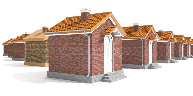 Architectuur modeldiehuizen op wit worden geïsoleerd royalty-vrije illustratie