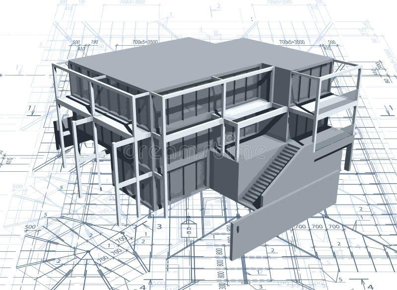 Architectuur modelhuis met blauwdruk. Vector vector illustratie