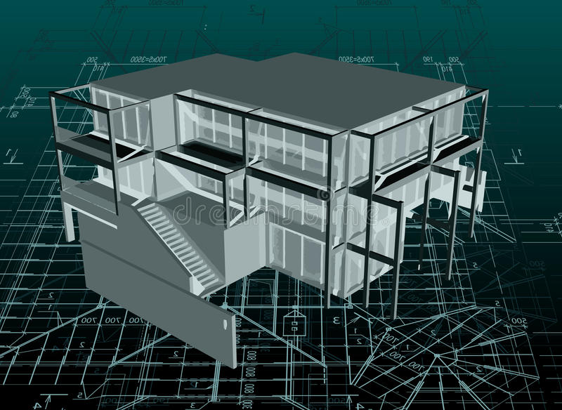 Architectuur modelhuis met blauwdruk. Vector royalty-vrije illustratie