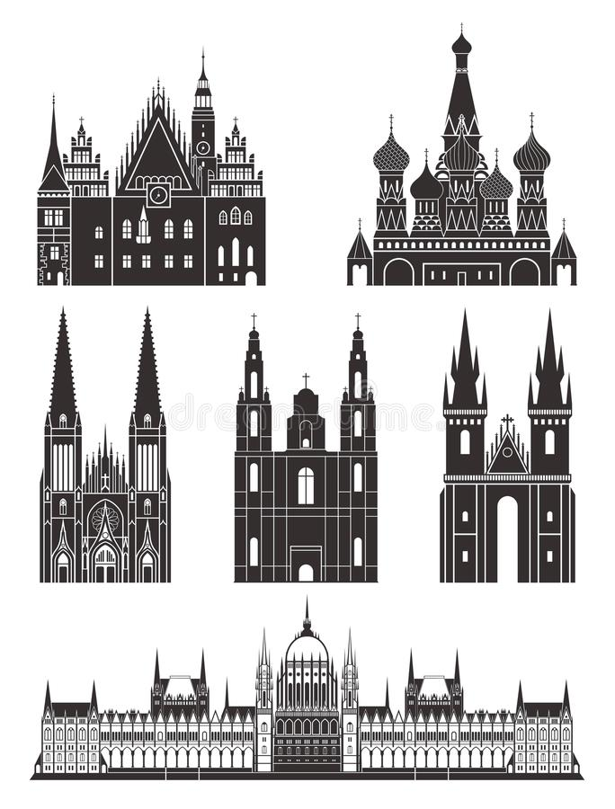 Architectuur Oost-Europa stock illustratie