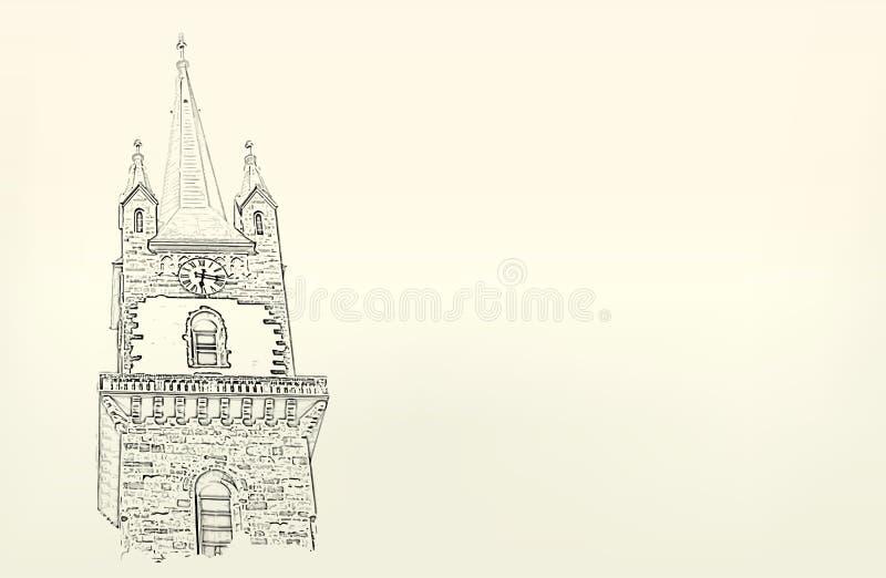 Architectuur schets Tekening van de bouw vector illustratie