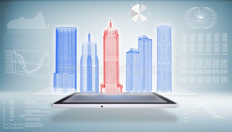 Architectuur in Tabletpc stock illustratie