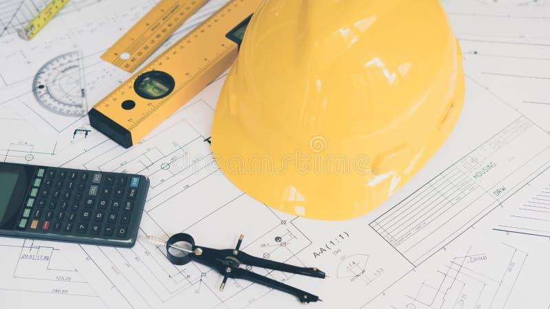 Architectuur, techniekplannen en tekeningsmateriaal stock foto