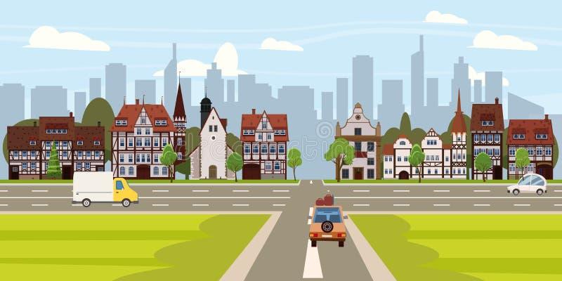 Architectuur van de gebouwen de oude huizen van de stadsstraat de stad in, de wegauto's van de kruispuntenweg, wolkenkrabbers mod vector illustratie
