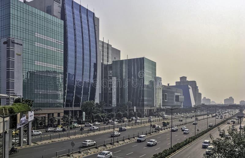 Architectuur van de Stad/Cyberhub van Cyber in Gurgaon, New Delhi, India stock foto's