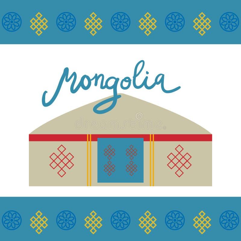 Architectuur van de traditionele woningen van Mongolië, zoals yurt en de tent behandeld met huiden of gevoeld, nomaden in de step stock illustratie