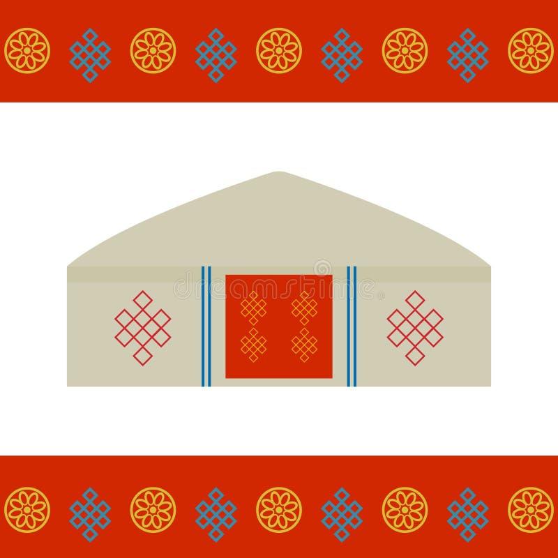 Architectuur van de traditionele woningen van Mongolië, zoals yurt en de tent behandeld met huiden of gevoeld, nomaden in de step vector illustratie