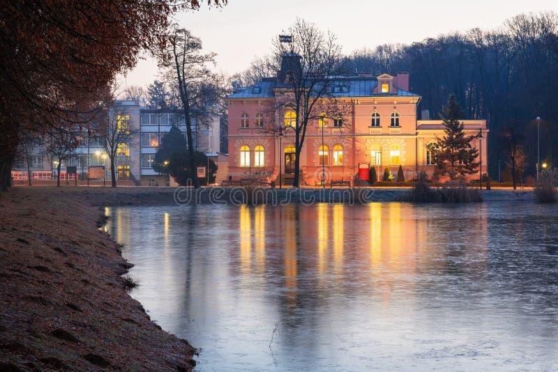 Architectuur van het oude stadhuis in Trzebnica royalty-vrije stock afbeeldingen