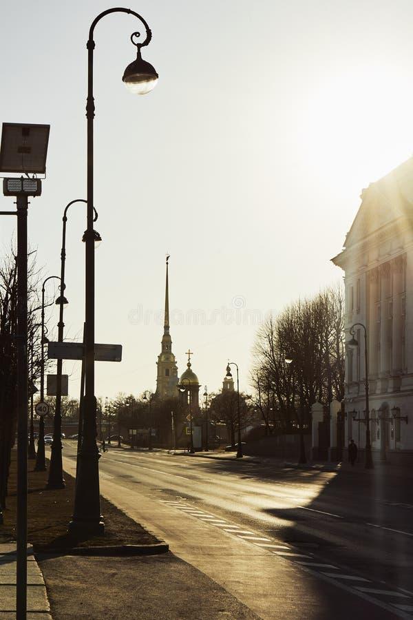 Architectuur van historisch stadscentrum van Heilige Petersburg, Rusland Peter en Paul Fortress Populair ori?ntatiepunt stock afbeelding