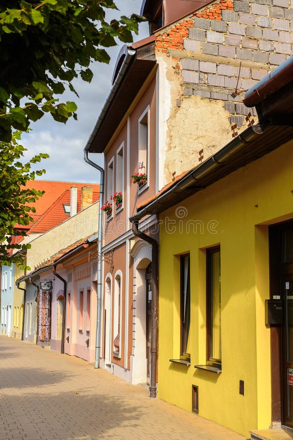 Architectuur van Kezmarok, Slowakije, stock afbeelding