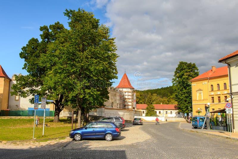 Architectuur van Kezmarok, Slowakije, stock foto's