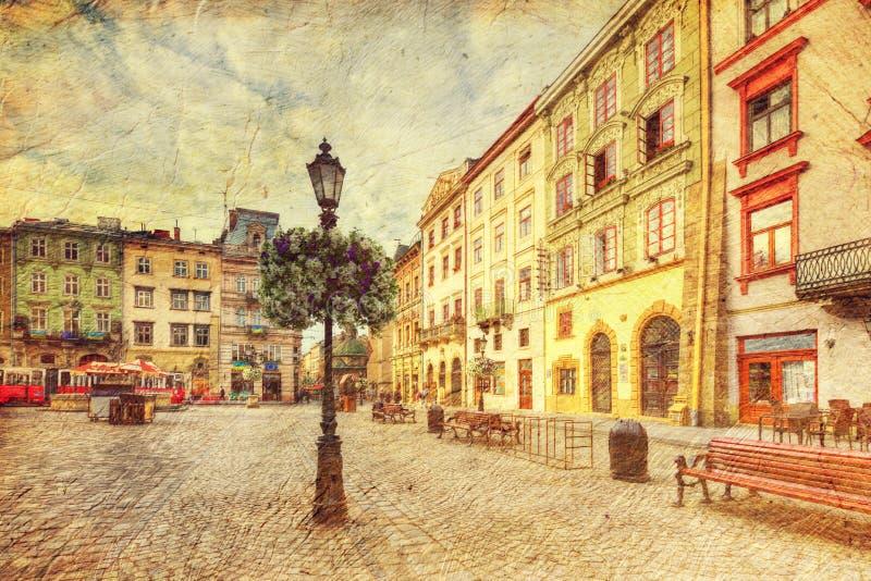 Architectuur van Lvov ukraine stock fotografie