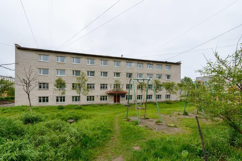 Architectuur van Magada, Russische Federatie stock foto's