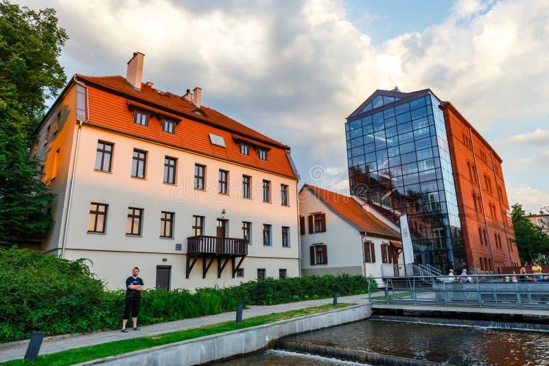 Architectuur van Moleneiland in Bydgoszcz-stad bij Brda-rivier, Polen stock afbeelding