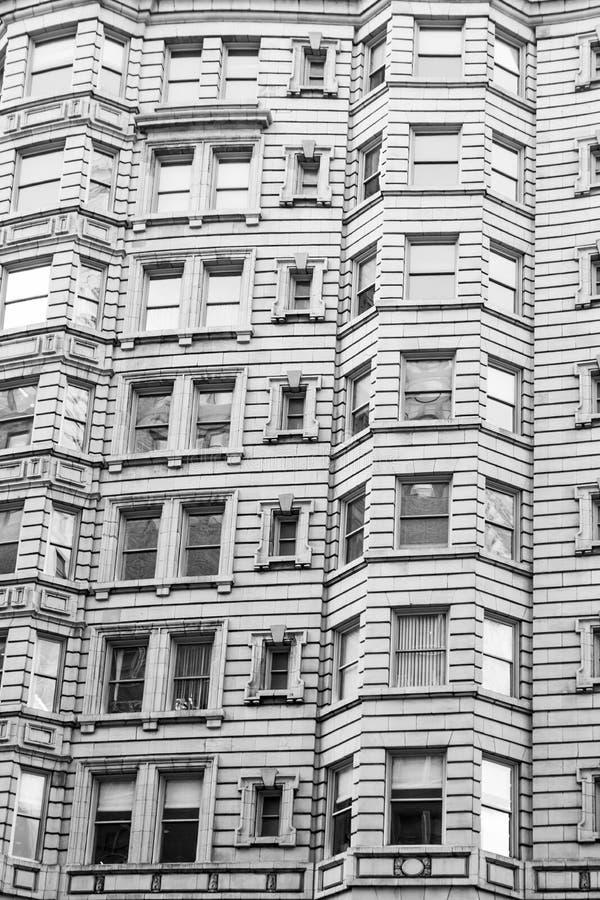 Architectuur van Philadelphia, voorgevel van een gebouw, historisch zwart-wit district, royalty-vrije stock fotografie