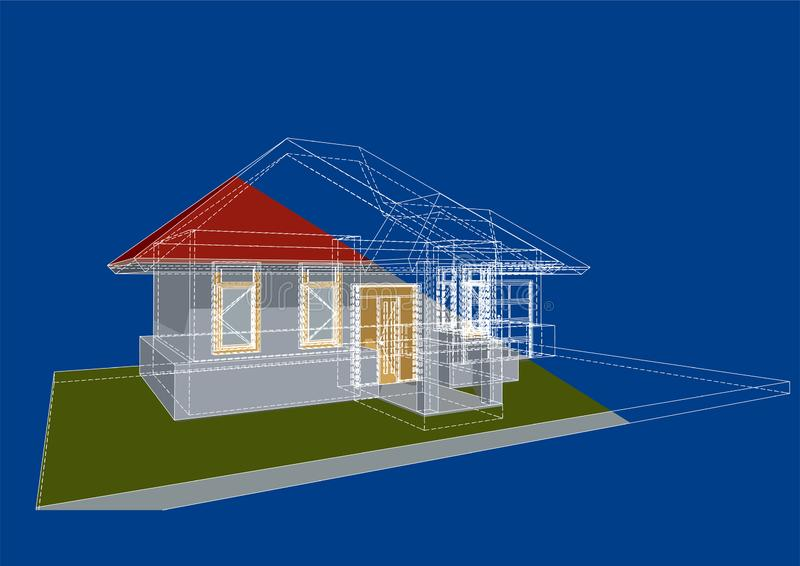 Architectuurblauwdruk royalty-vrije illustratie